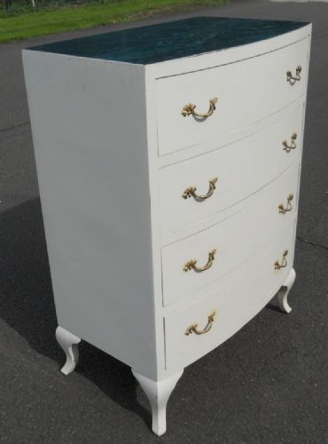 Small Painted Bowfront Chest of Drawers